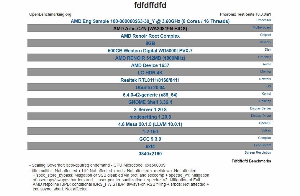 APU de escritorio AMD Cezanne Ryzen 5000 con 8 núcleos Zen 3 detectados, relojes de 3,6 GHz y GPU Vega mejorada de 7 nm 1