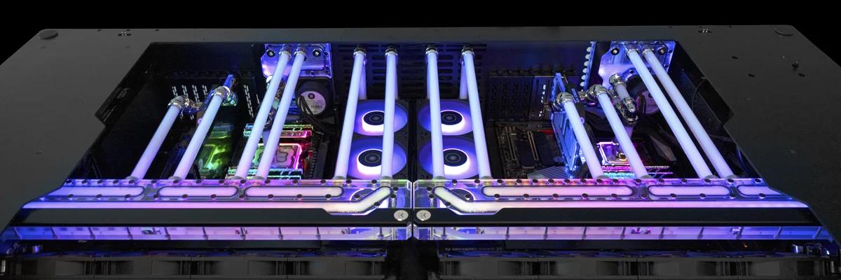Image of article 'EKWB Unveils Quantum Reflection Distro Plates For Lian Li Desk Cases'