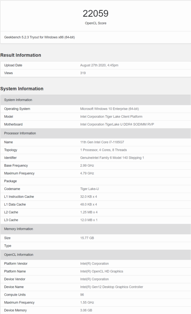 Intel 10nm Tiger Lake Core i7-1185G7 CPU Geekbench 5