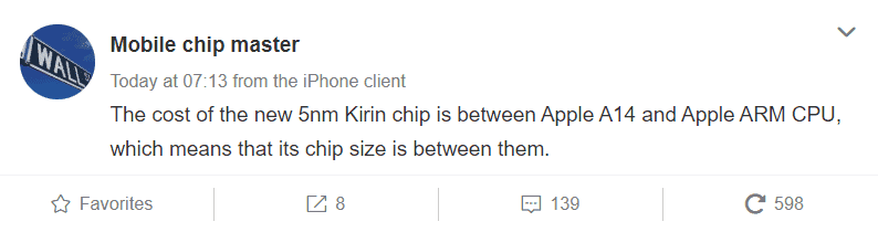 Kirin 1020 More Costly to Make Than Apple's A14 Bionic; New Report Claims Chip Size Will Be Bigger Too