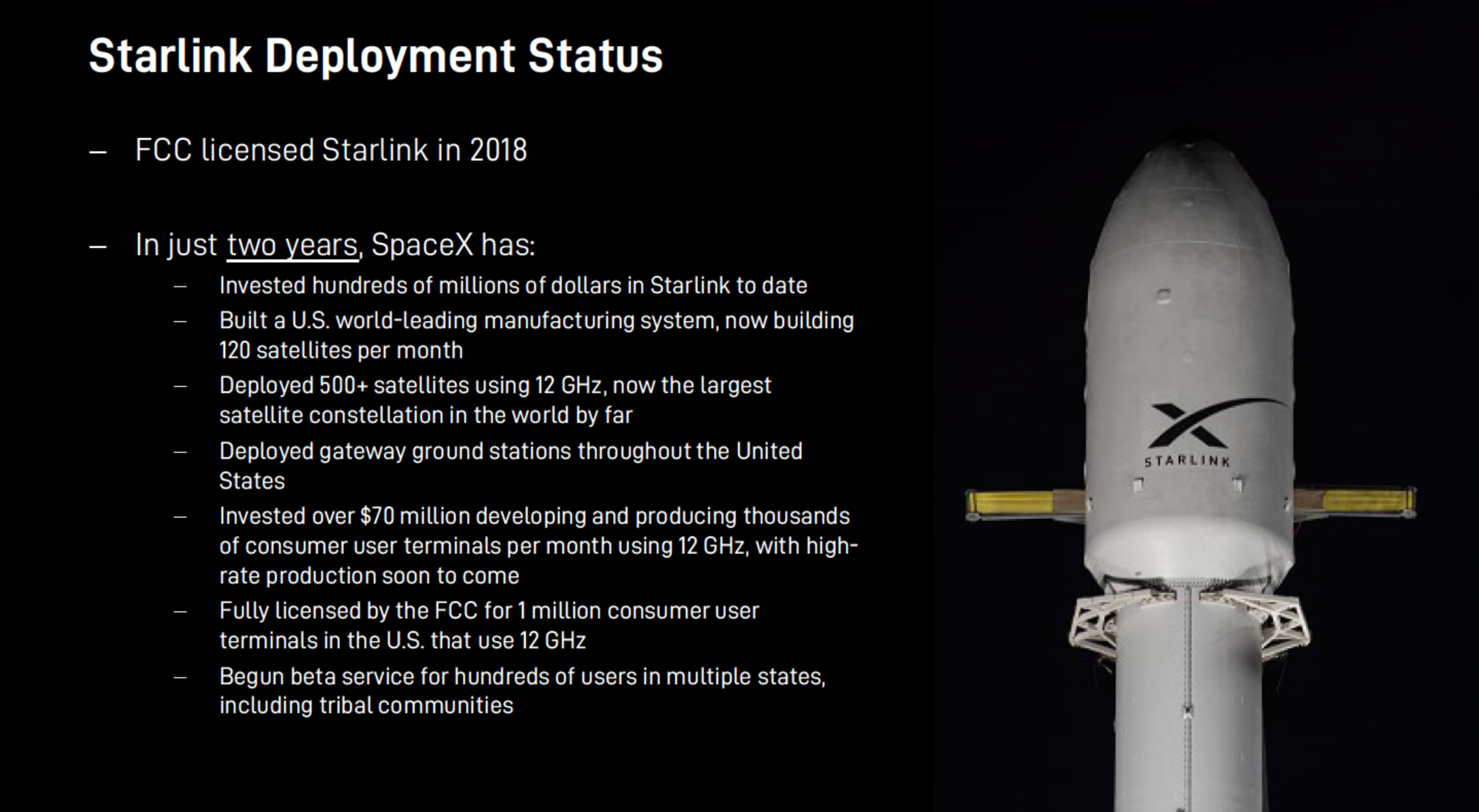 SpaceX Starlink frequencies commercial rollout