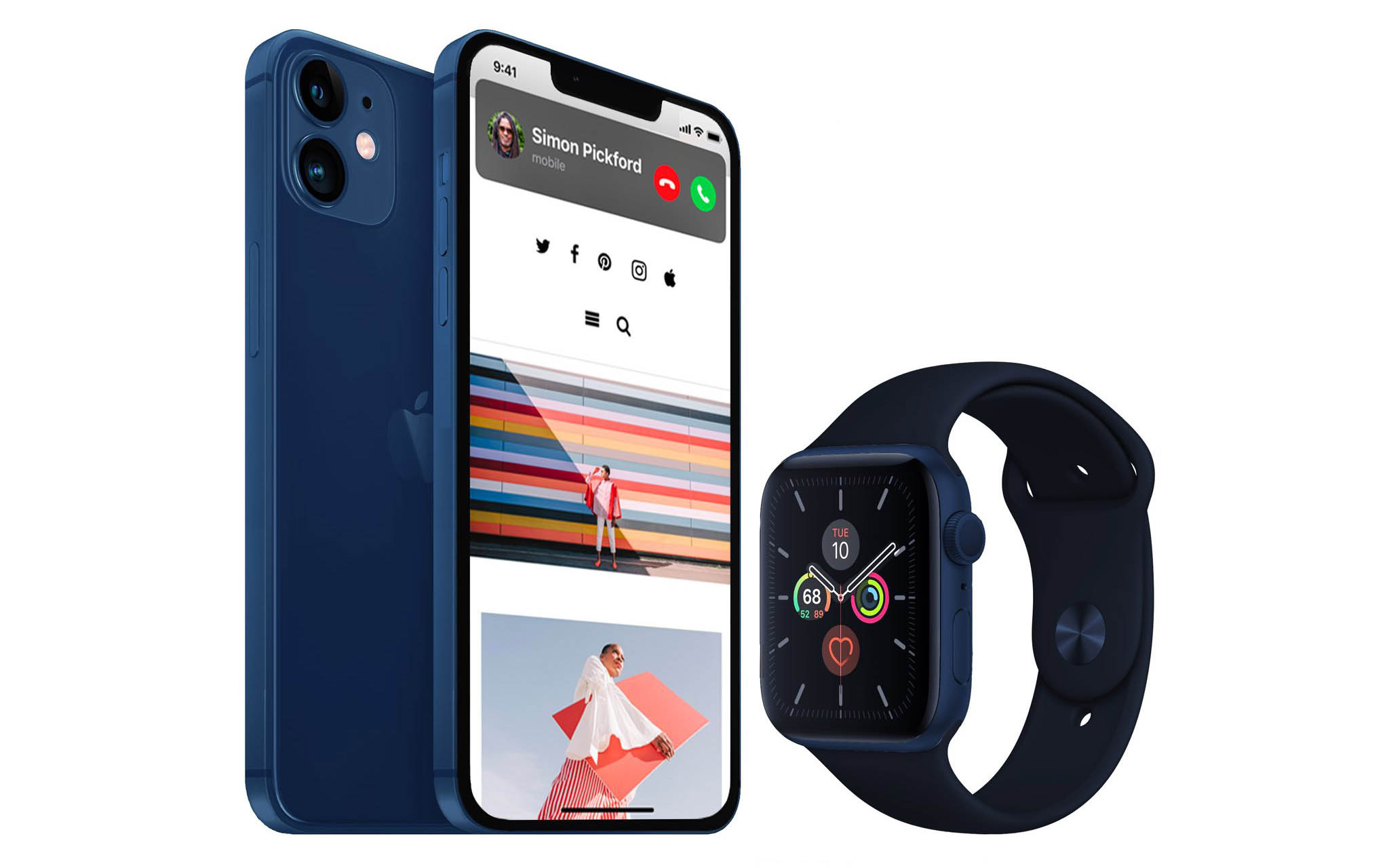 iPhone 12 Max and Apple Watch Series 6 in Navy Blue color concept