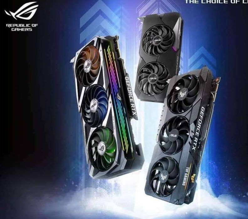 "ASUS GeForce RTX 30 Series graphics card lineup pictured (Image Credits: <a href=""https://twitter.com/harukaze5719/status/1300789659035938821"" target=""_blank"" rel=""noopener"">Harukaze5719</a>)"