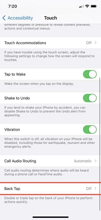 Back Tap Gesture iOS 14