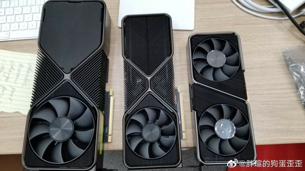 A family photo of the NVIDIA GeForce RTX 30 series graphics card lineup. (Image Credits: @davideneco25320)