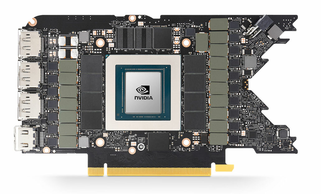 The official PCB of the NVIDIA GeForce RTX 3080 Founders Edition graphics card.