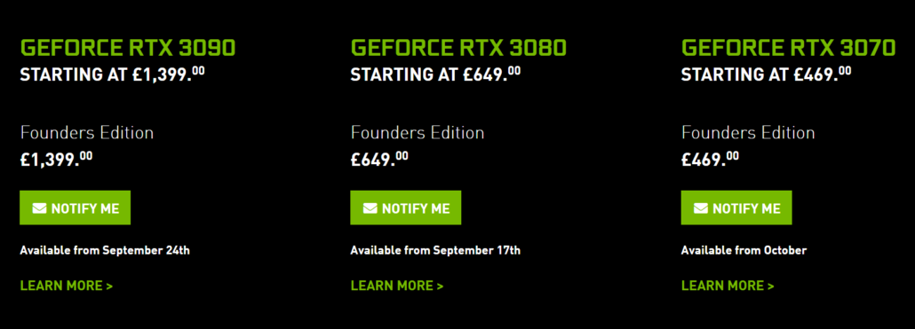 NVIDIA GeForce RTX 3090 GeForce RTX 3080 GeForce rTX 3070 CCustom Model Prices EU