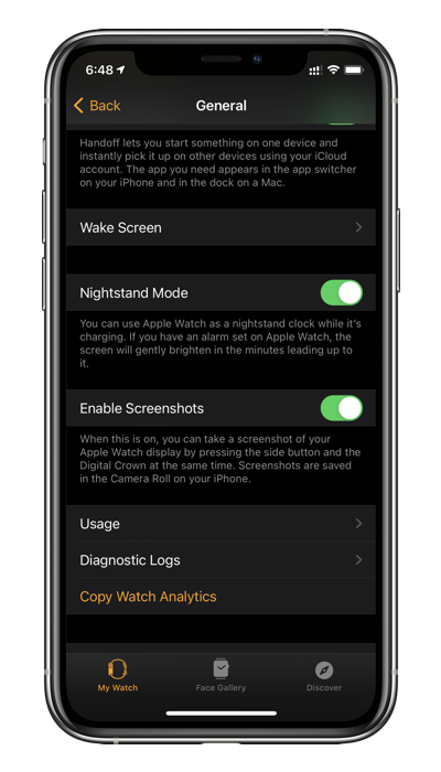 Tap on Enable Screenshots to take screenshots on Apple Watch running watchOS 7