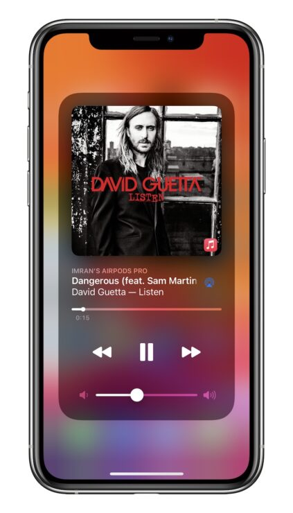iOS 14.2 Control Center Music Controls