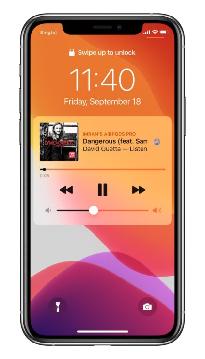 iOS 14.2 lock screen music player 2