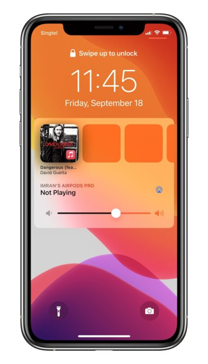 iOS 14.2 lock screen music player