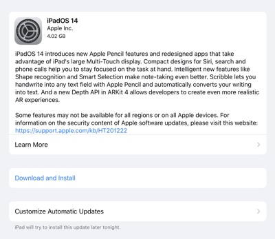 iPadOS 14 changelog