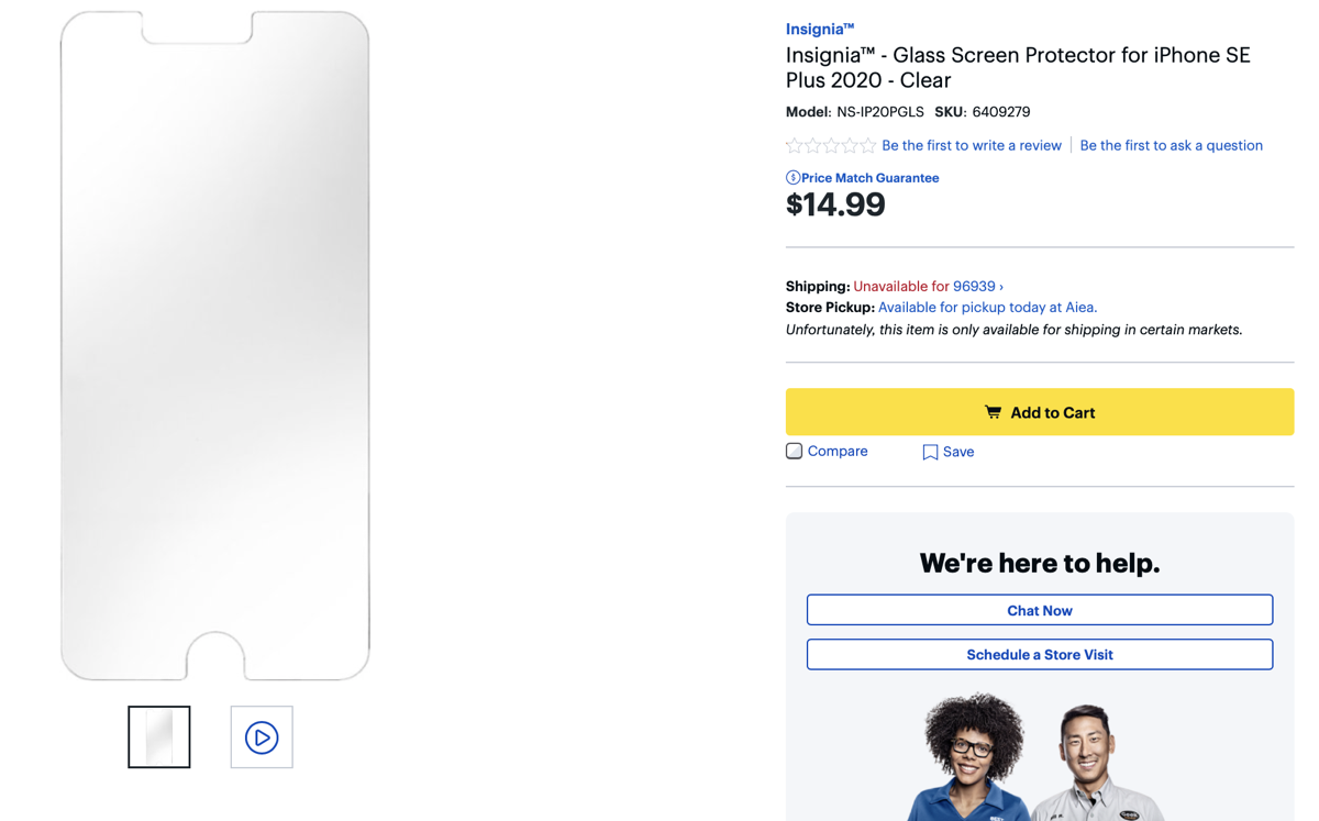 iPhone SE Plus 2020 screen protector shows up on Best Buy website