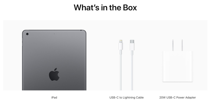 iPad 8 retail package contents