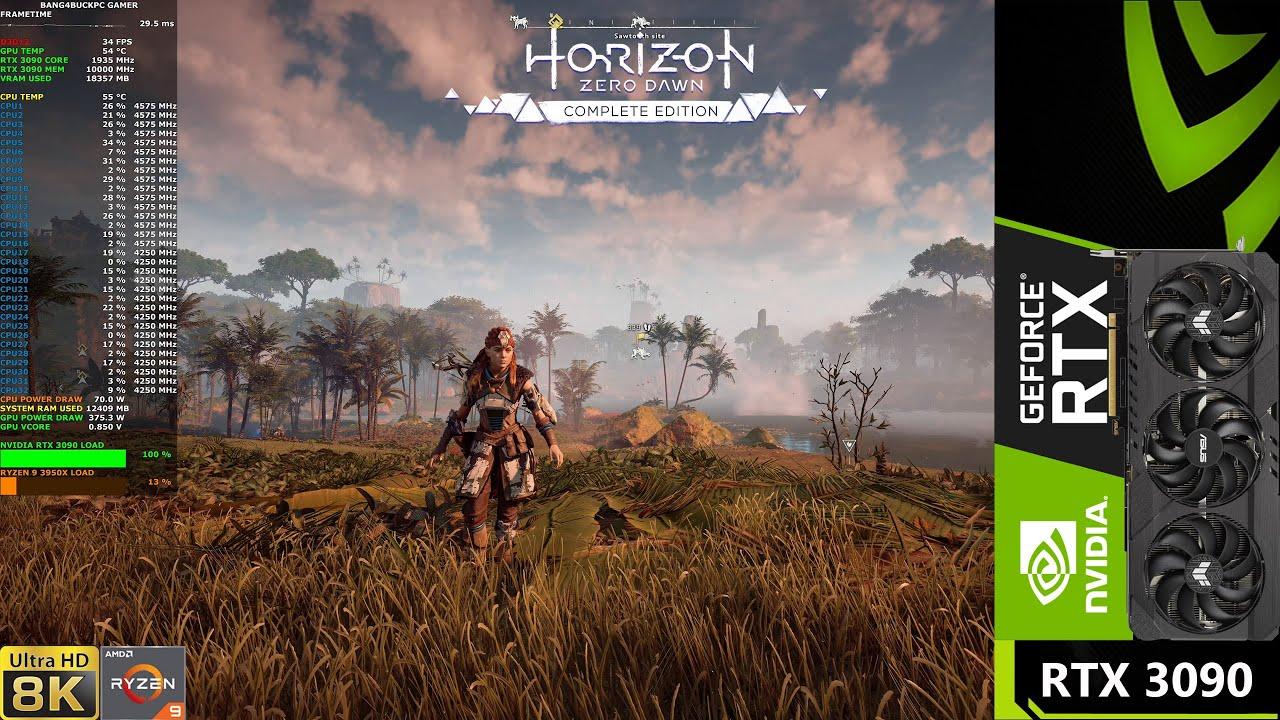 Horizon Zero Dawn 8K NVIDIA Geforce RTX 3090 30fps Witcher 3 Crysis 3 FFXV