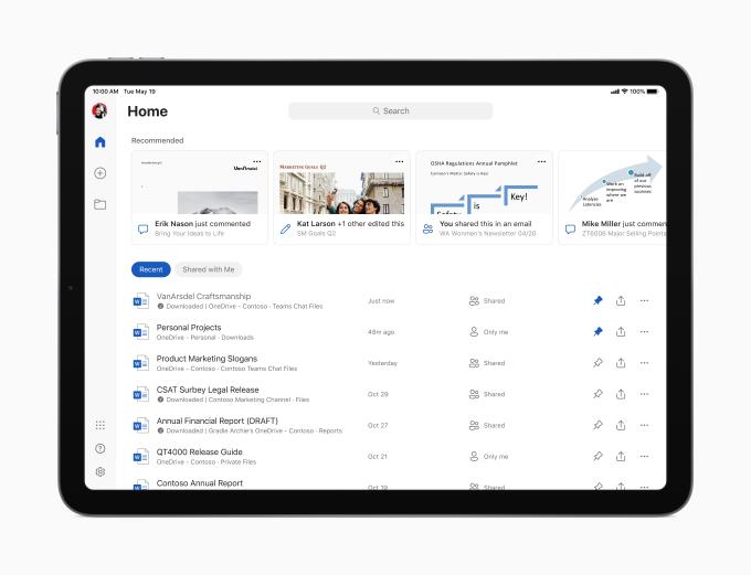 Office iPad Start Screen