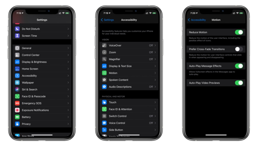 Turn off Reduce Motion in iOS 14 / iPadOS 14