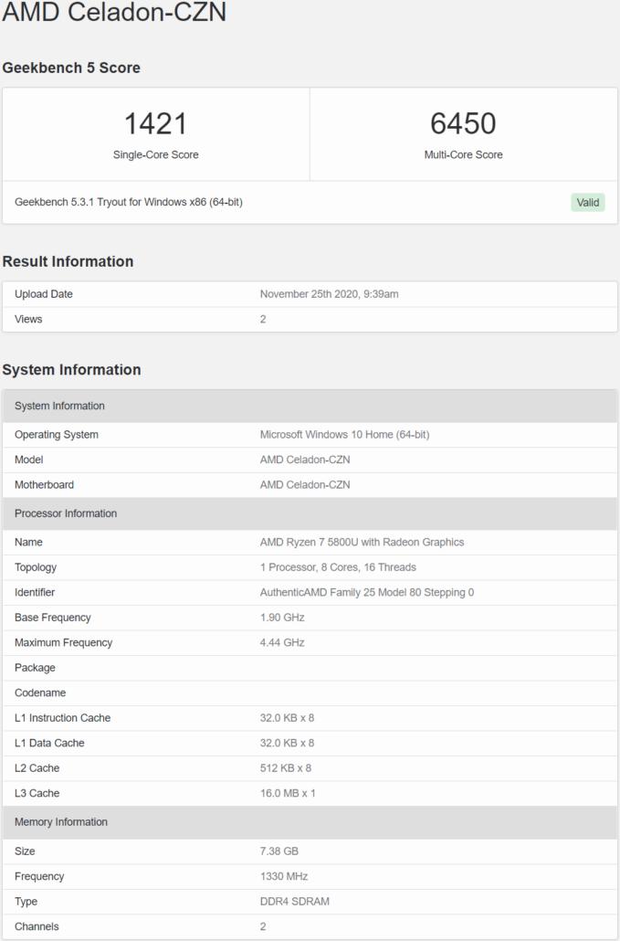 AMD Ryzen 7 5800U 8 Core Cezanne APU With AMD Zen 3 Core Architecture_Leaked Benchmark