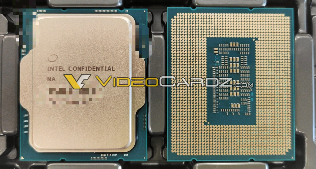 A picture of the Intel Alder Lake Desktop CPU sitting in a tray. (Image Credits: Videocardz)