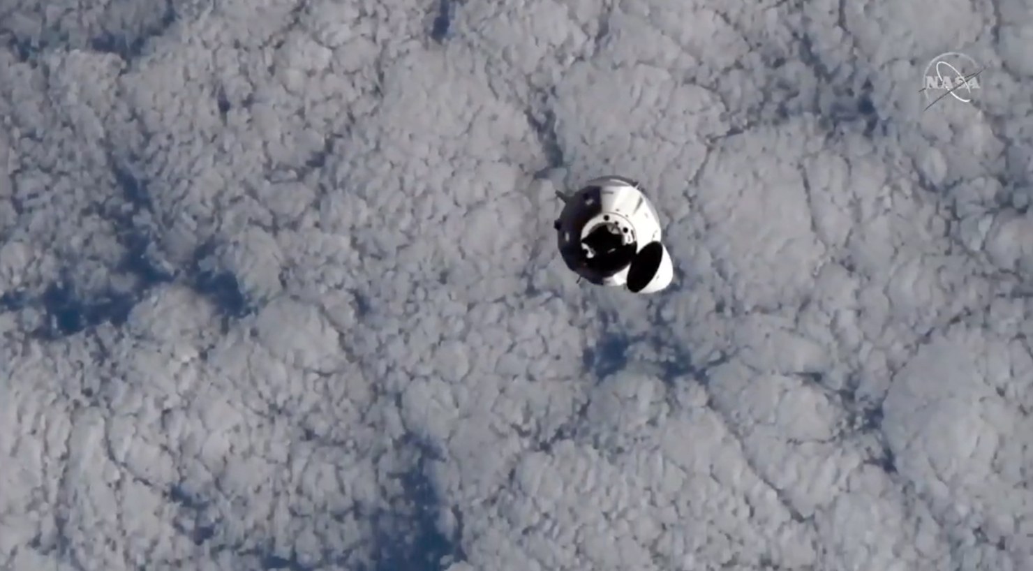 Crew Dragon from ISS view