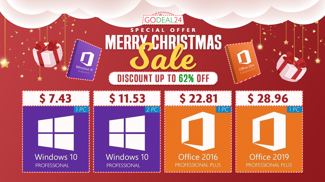 New Pc Sales Leaks For Christmas 2021 Software Christmas Sale Windows 10 Pro For 7 43 Office 2019 Pro For 28 96 And More
