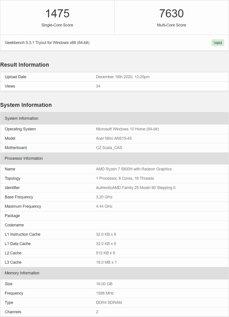 AMD Ryzen 7 5800H 8 Core Zen 3 Cezanne-H CPU Benchmark Leak