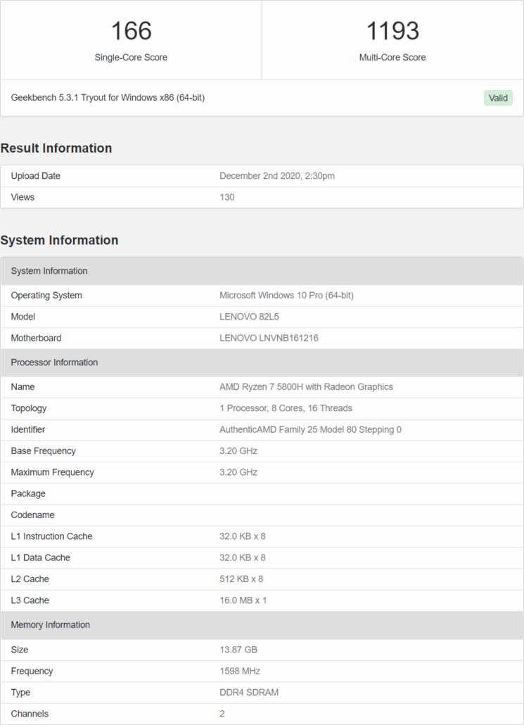 AMD Ryzen 7 5800H Cezanne-H CPU 8 Core 16 Thread Zen 3 Benchmark Leak