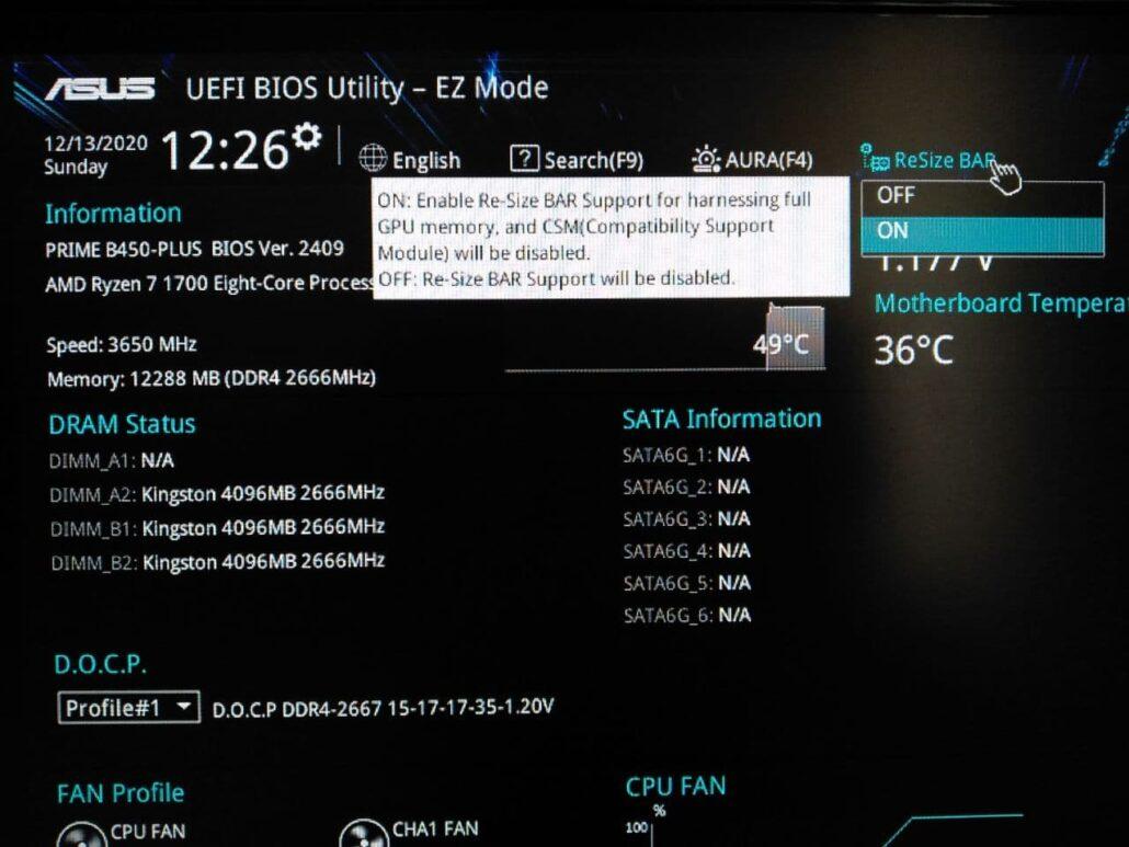 AMD Smart Access Memory, First Gen Ryzen 7 1700 CPU & ASUS B450 Motherboard _1