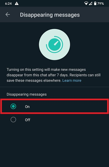Enable Disappearing Messages on WhatsApp