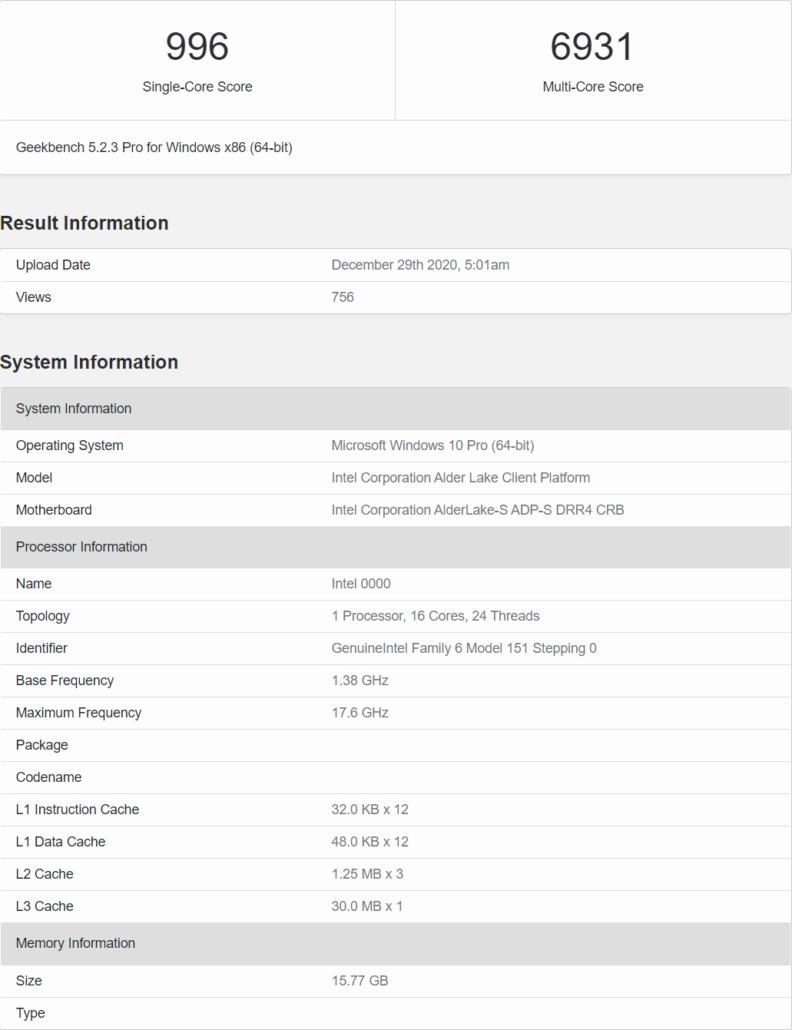 Intel Alder Lake-S Desktop CPU 12th Gen Core Family _1