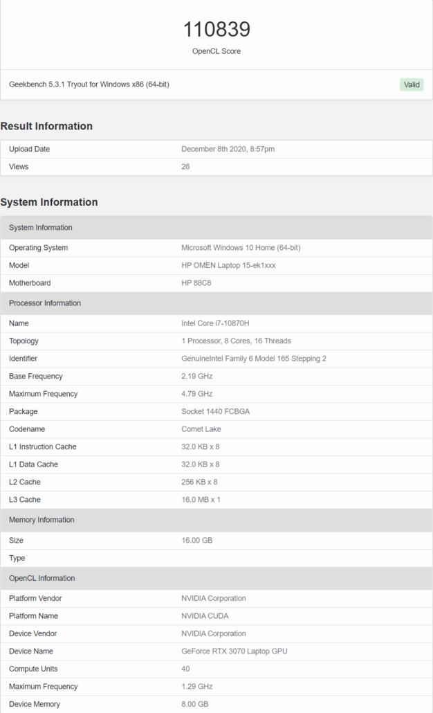 NVIDIA GeForce RTX 3070 Mobility GPU Benchmark Leak _1