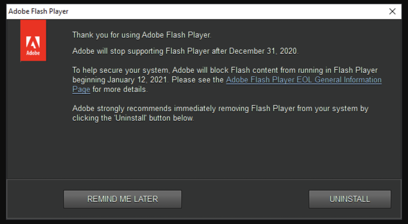 adobe flash player eol