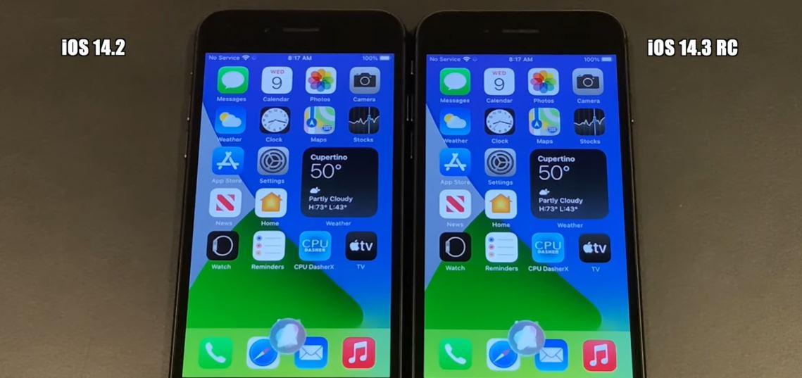 iOS 14.3 Speed Test Comparison