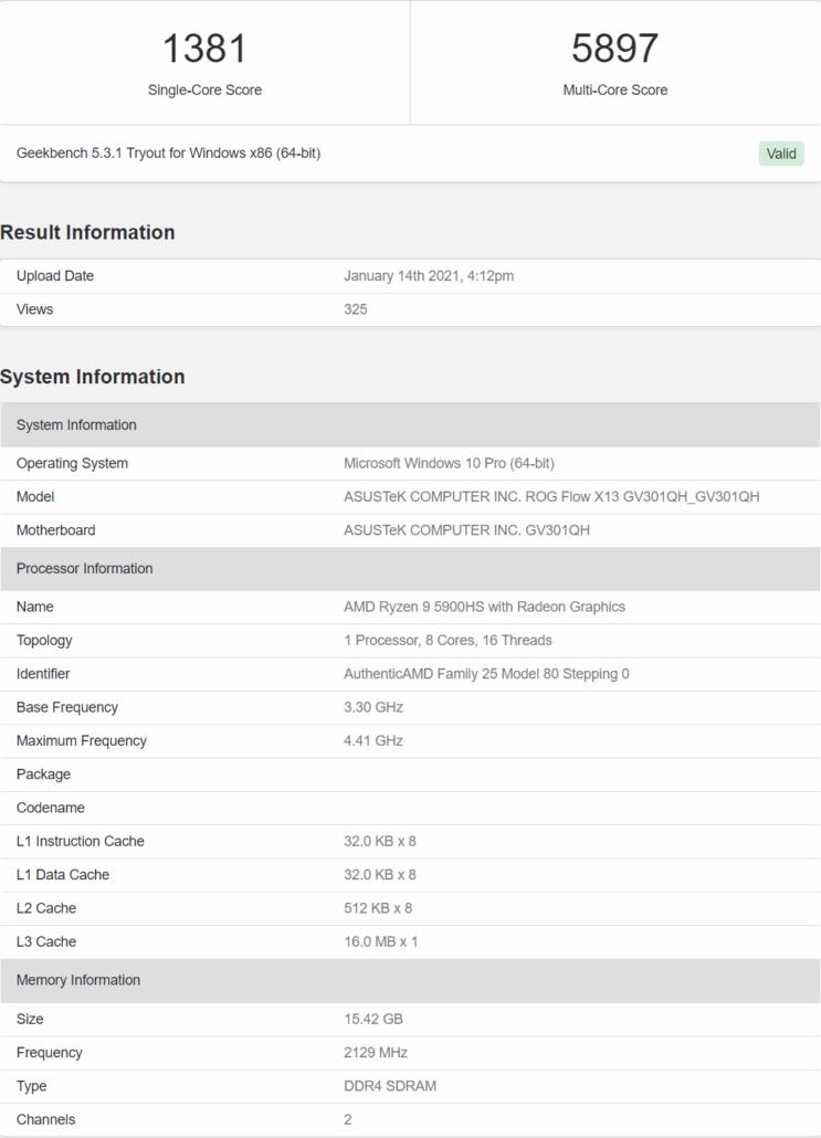 AMD Ryzen 9 5900HS 8 Core Cezanne Zen 3 Mobility CPU