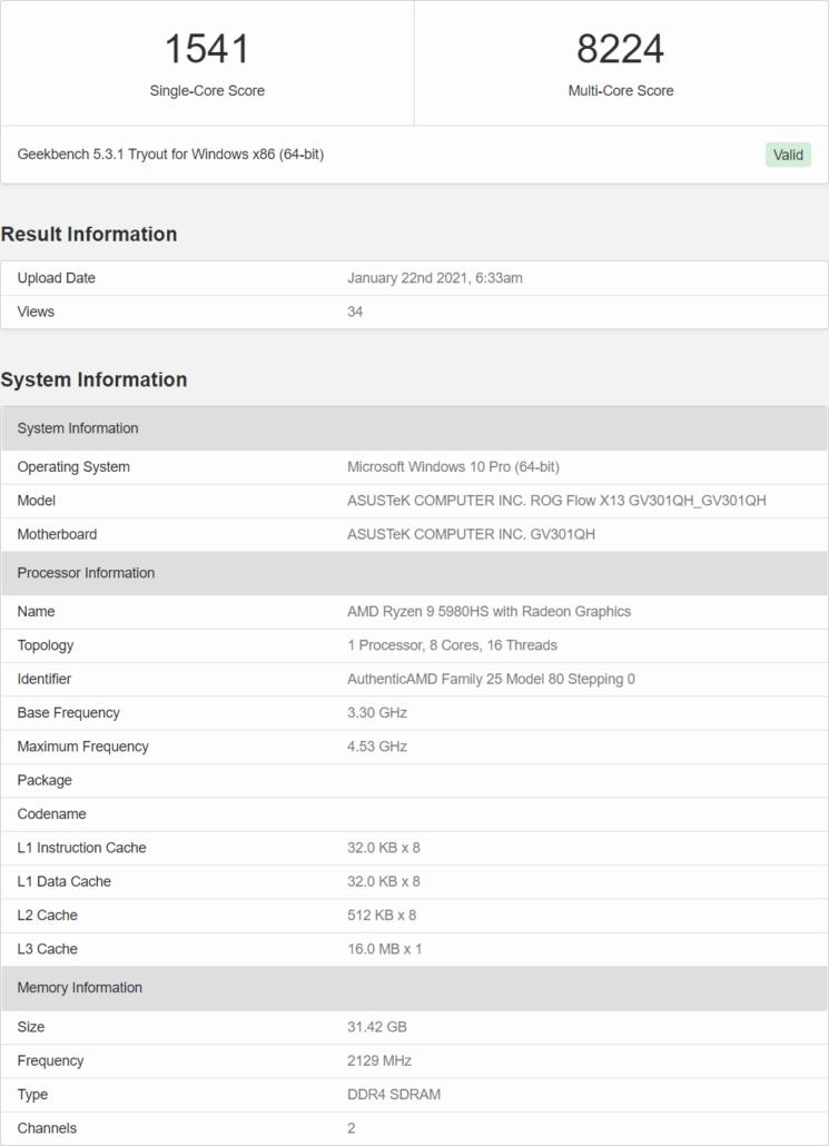 AMD Ryzen 9 5980HS 8 Core Cezanne Zen 3 Mobility CPU