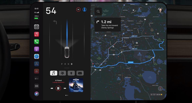 Apple CarPlay Concept Tesala Model 3