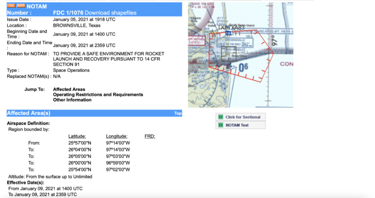 Potential Starship SN9 test flight NOTAM 2
