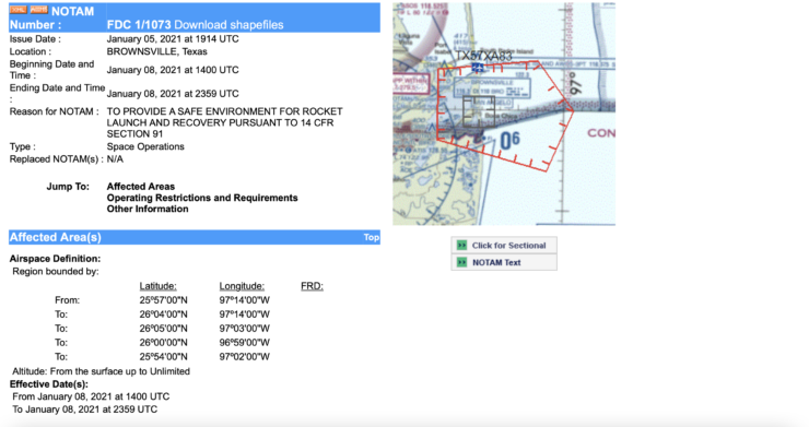 Potential Starship SN9 test flight NOTAM 1