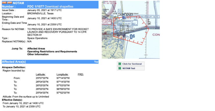 Potential Starship SN9 test flight NOTAM 3