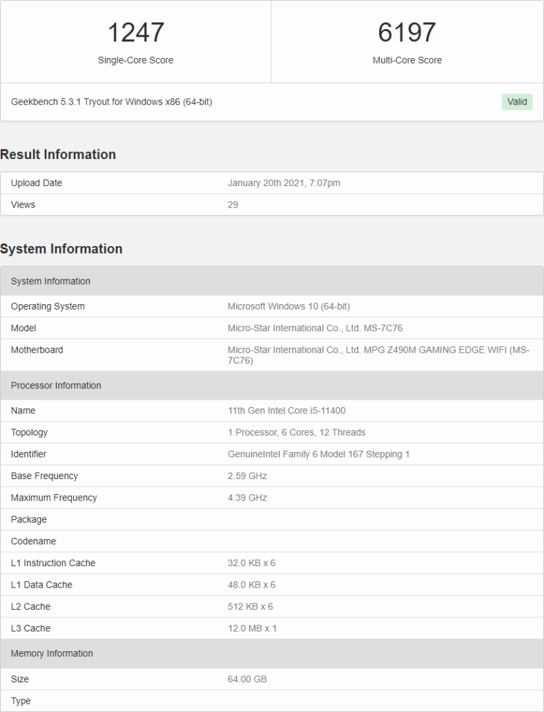Intel Core i5-11400 6 Core Rocket Lake Desktop CPU Benchmarks Leak _1