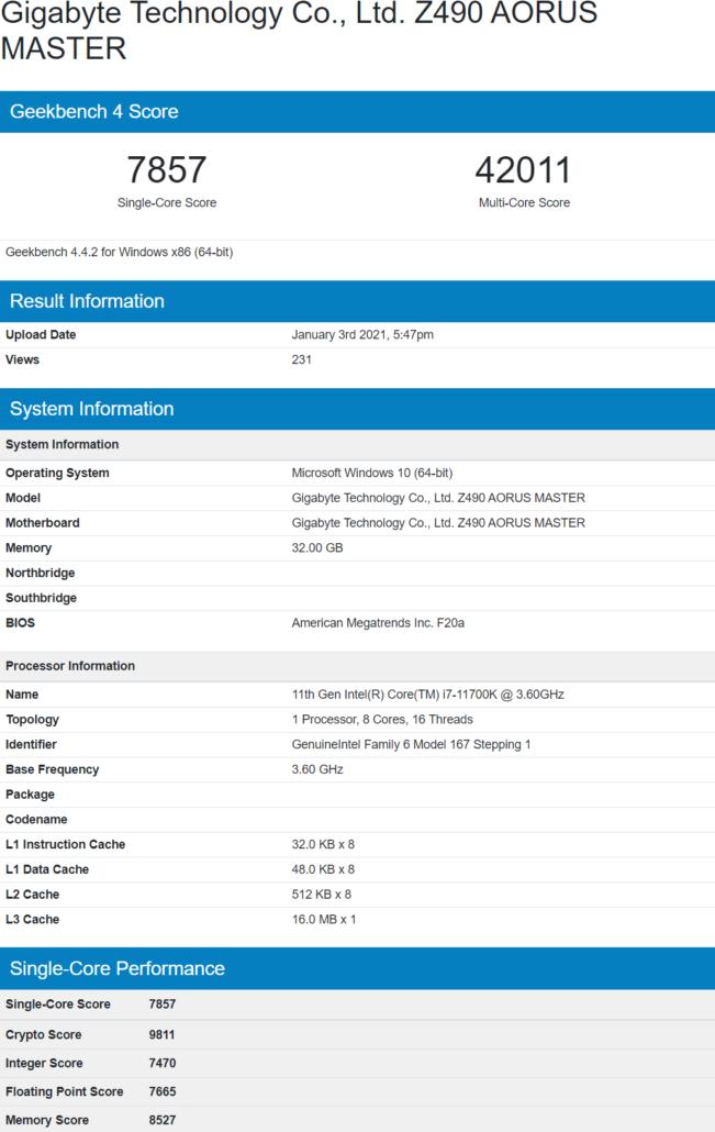 Intel Core i7-11700K 8 Core Rocket Lake Desktop CPU Benchmark Leak Geekbench _1