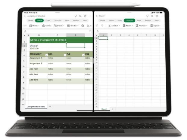 Microsoft Word Excel Powerpoint Split View