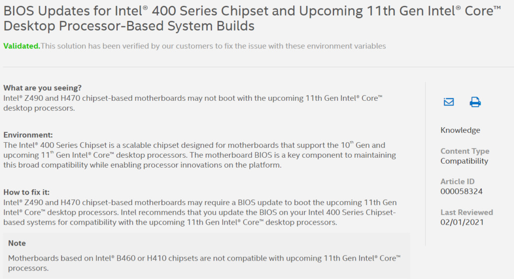 Intel 11th Gen Rocket Lake Desktop CPUs Not Supported on B460 and H410 Chipset Motherboards