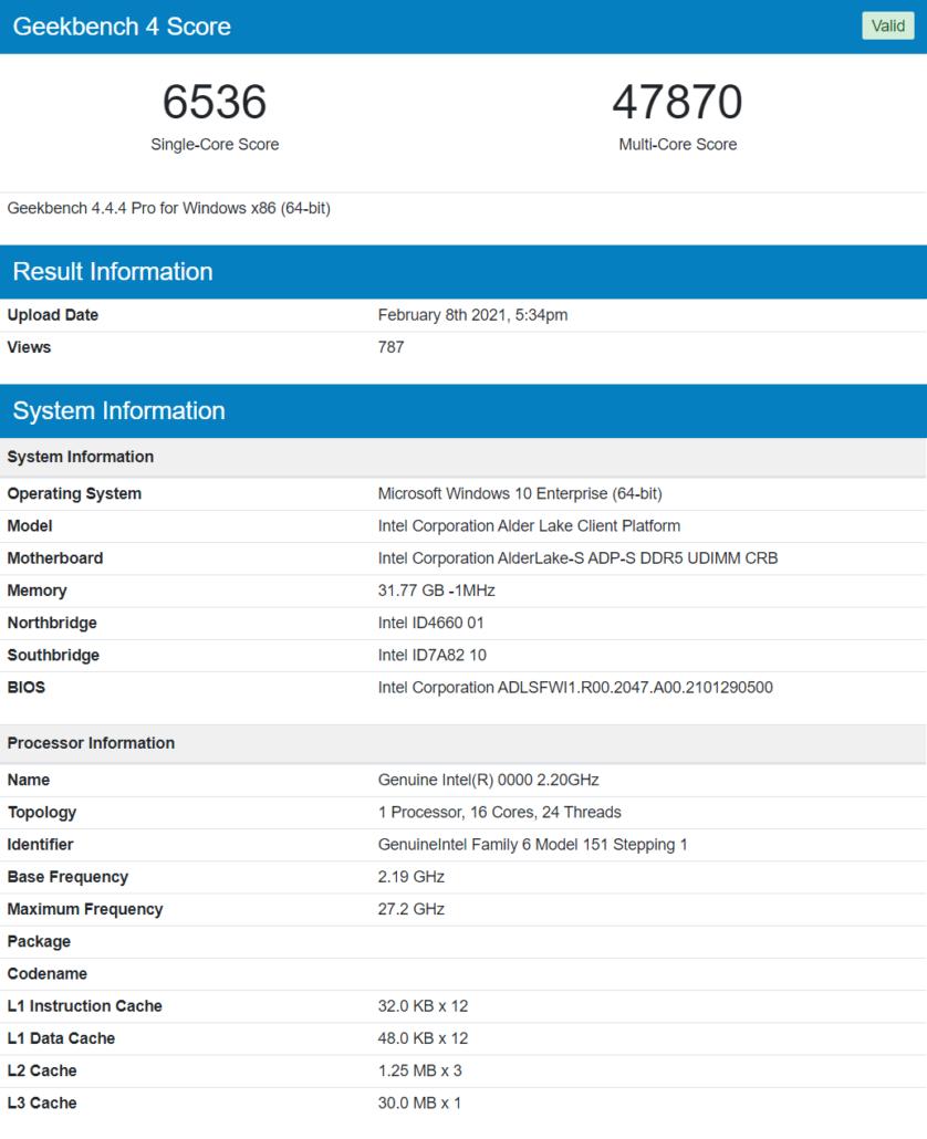 Intel Alder Lake 16 Core & 24 Thread Desktop CPU 12th Gen Core Processor