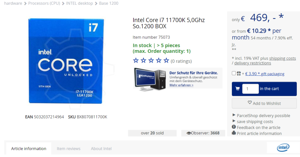 Intel Core i7-11700K 8 Core Rocket Lake Desktop CPU Listed For Pre-Order - Early Prices Set at 469 Euros