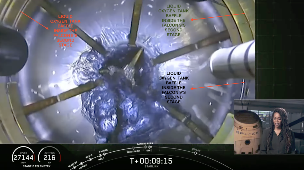 Falcon 9 second stage tank baffles
