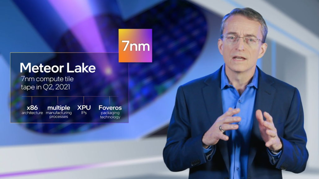 Intel CEO, Pat Gelsinger, unveiling Meteor Lake 7nm CPUs for the first time at Intel IDM.