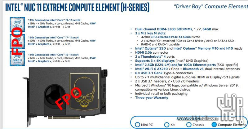 Intel NUC 11 Extreme Compute Element With 11th Gen Tiger Lake CPUs & Xe Graphics _1
