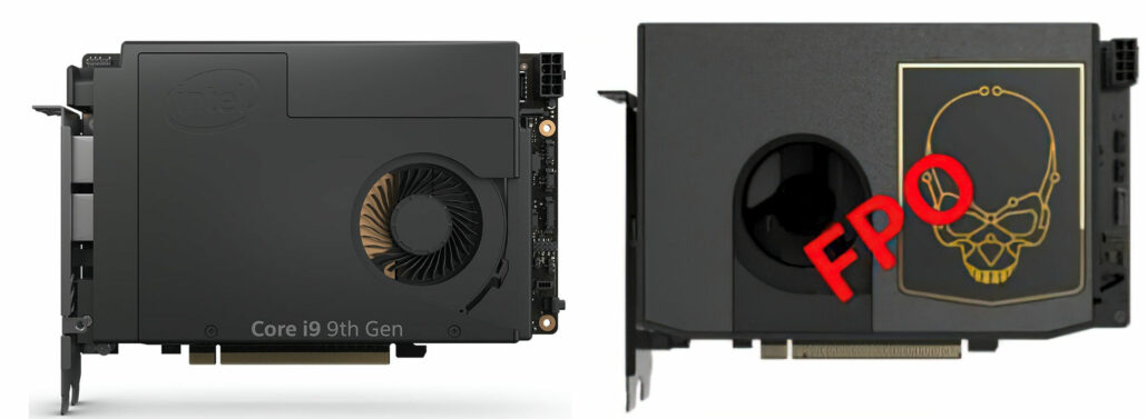 A visual comparison of the Intel Compute Element NUC 9 Extreme (left) with Intel NUC 11 Extreme (right).