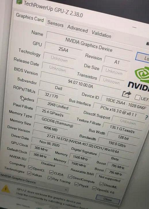 NVIDIA GeForce RTX 3050 Graphics Card Ampere GA107 GPU-z